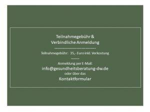 Anmeldeformular, Vorträge Weinstube Traube Daniela Weh Gesundheitsberatung